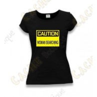 "Camiseta ""Caution"" Mujeres - Negro"