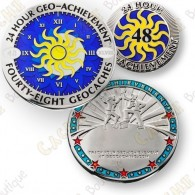 Geo Achievement® 24 Hours 48 Caches - Coin + Pin