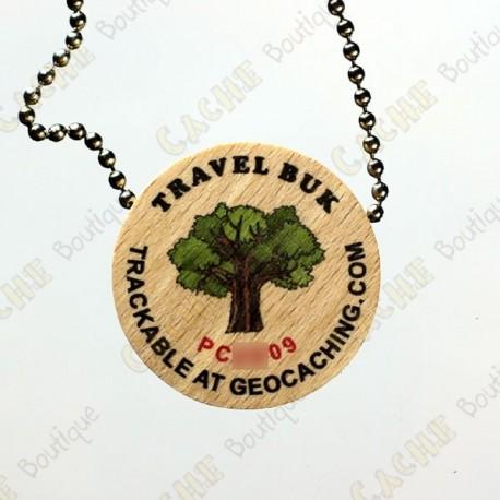 Travel Buk - Geocoin de madera