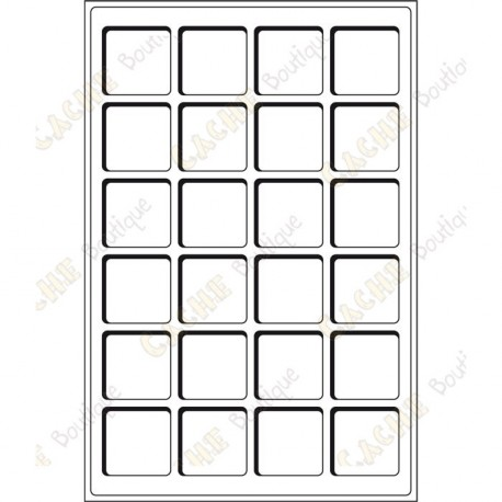 Bandeja L para geocoins 47 x 47 mm - 24 cajas