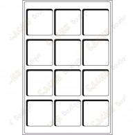 Plateau L pour géocoins 66 x 66 mm - 12 cases