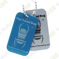 Travel bug oficial Groundspeak com QR code.