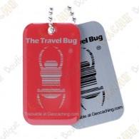 Travel bug oficial Groundspeak con QR code.