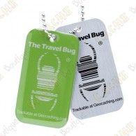 Travel bug officiel Groundspeak de couleur avec QR code au dos.