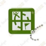 Official Geocaching logo tag.   Este geocoin é trackable em  www.geocaching.com .