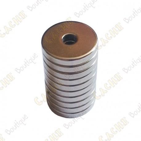 Magnets neodymes anneaux 12x3x2mm - Lot de 5