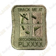 Patch geocaching trackable com logotipo Groundspeak.