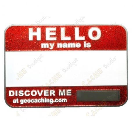 Name tag trackable - Rouge pailleté