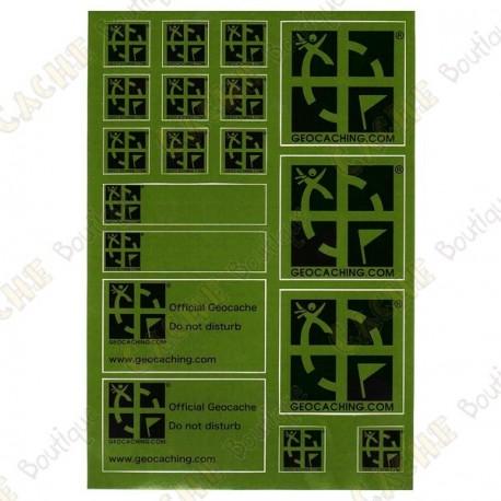 Plancha de pegatinas Geocaching - Verde