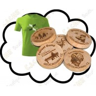 Camiseta + Wood coins personalizados x 50