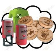 Camiseta + Estampilla + Wood coins personalizados x 50