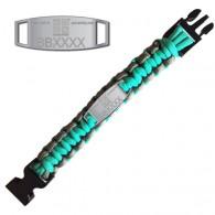 Bracelet Paracorde Trackable - Geocaching - Turquoise / Gris - Prévente
