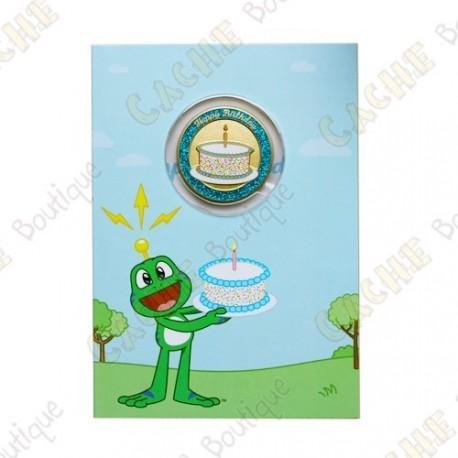 "Cartão conm Geocoin ""Happy Birthday"""