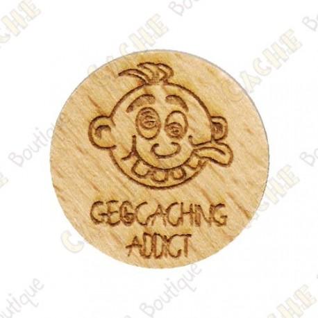 Wooden coin - Geocaching Addict Boy