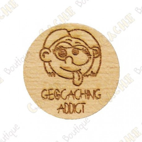 Géocoin en bois - Geocaching Addict Girl