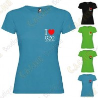 "T-Shirt ""I love Geocaching"" poitrine Femme"