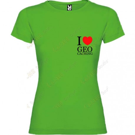"T-shirt ""I love Geocaching"" breast Mulher"