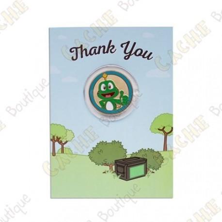 "Carte cadeau et géocoin ""Thank you"""