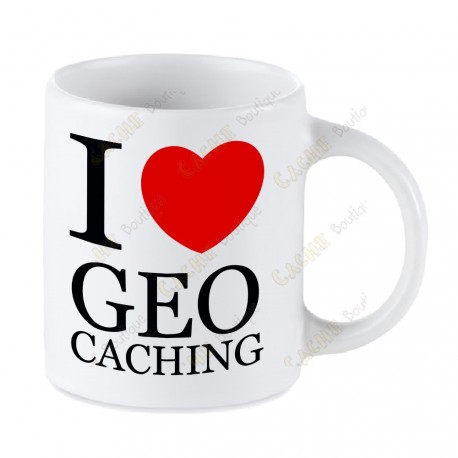 Taza Geocaching blanca - I love Geocaching