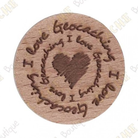 Wooden coin - I love Geocaching