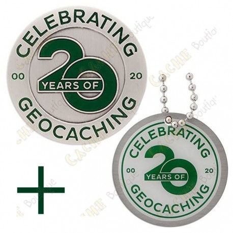 """Geocoin """"20 Years of Geocaching"""" + Tag"""