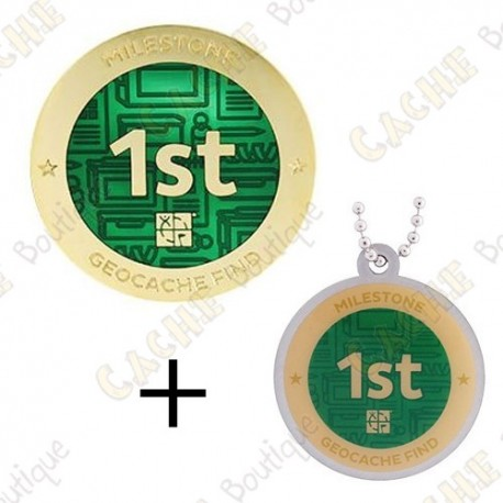 "Geocoin + Travel Tag ""Milestone"" - 1st Find"
