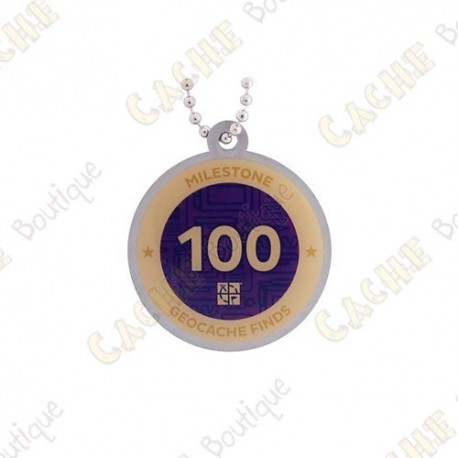 """Travel tag """"Milestone"""" - 100 Finds"""