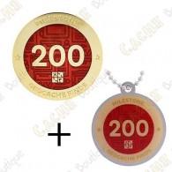 "Geocoin + Travel Tag ""Milestone"" - 200 Finds"