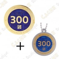 "Geocoin + Traveler ""Milestone"" - 300 Finds"