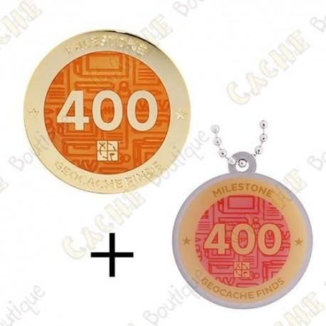 "Geocoin + Travel Tag ""Milestone"" - 400 Finds"