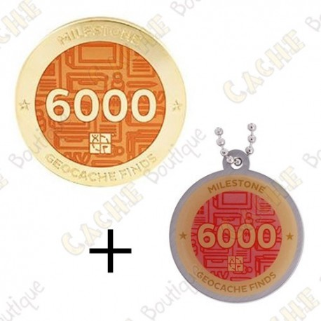 "Geocoin + Travel Tag ""Milestone"" - 6000 Finds"