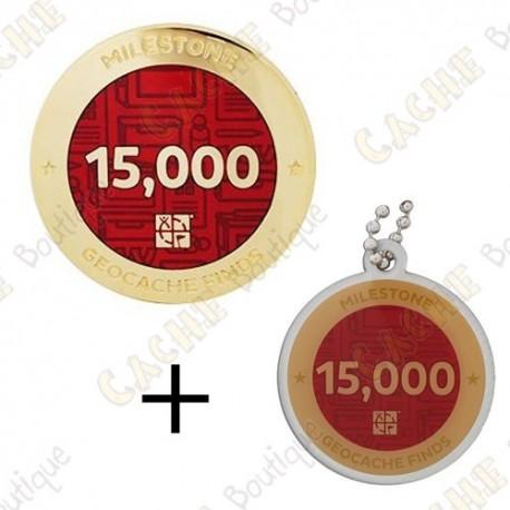 "Geocoin + Travel Tag ""Milestone"" - 15 000 Finds"