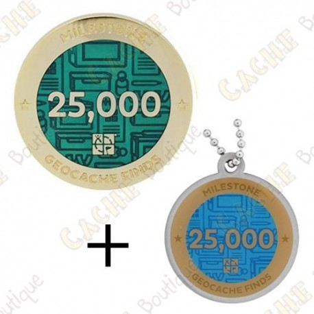 "Geocoin + Travel Tag ""Milestone"" - 25 000 Finds"